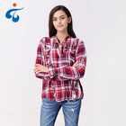 Trendy hot selling long sleeve women plaid casual mixed color pussy bow blouses designs fat ladies
