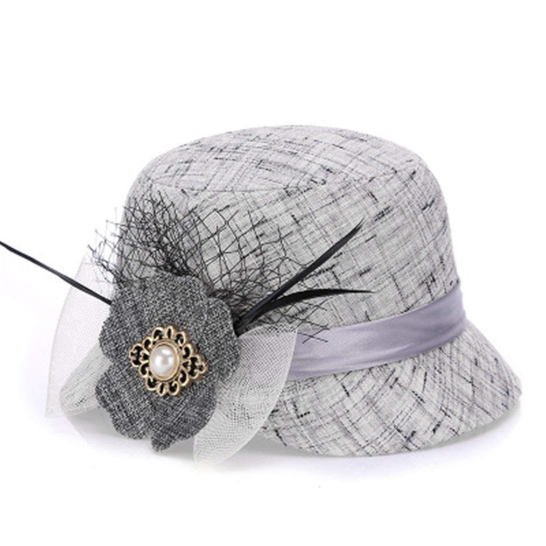 dda7e4ccf27 Get Quotations · Summer Women s Sun Hat Bowknot Ribbon Flax Hat Straw  Panama Beach Caps Head Floppy Wide Brim