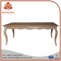 french rustic solid oak wooden vintage dining table designs