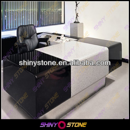 Unique Design High Gloss with Matte Marble Solid Surface Director Office Desk