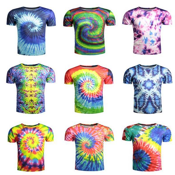 l'atteggiamento migliore comprare on line corrispondenza di colore 100% Polyester O-neck Tie Dye T Shirt Wholesale Fashion Design ...