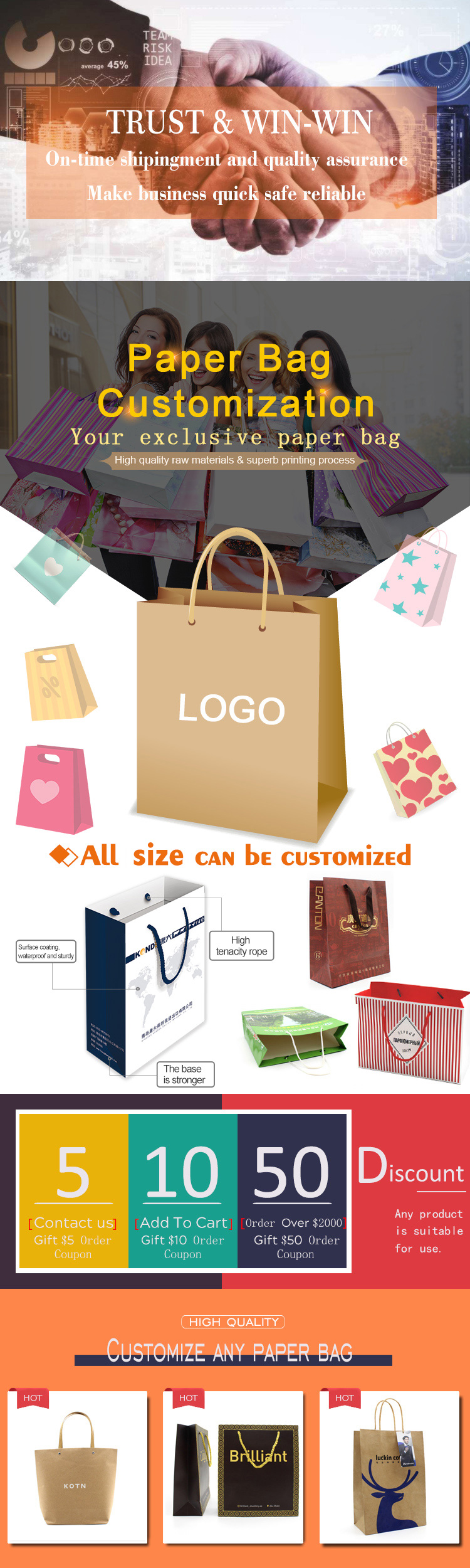 Luxury white card paper bag with UV/Hot stamping/Foil  your own logo