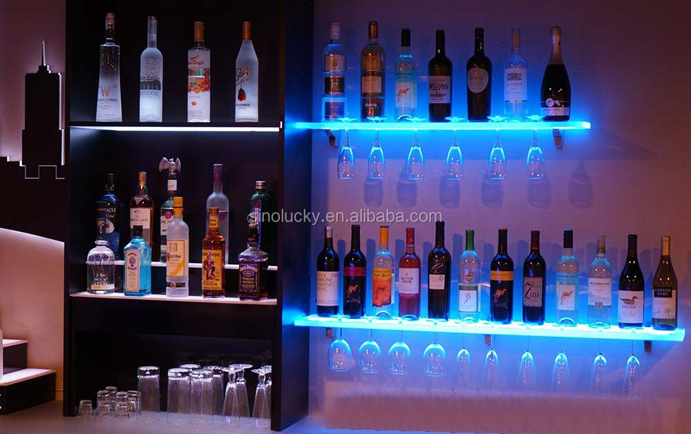 Family Custom Bar Led Wall Wine Holder Bottle Shelf Buy