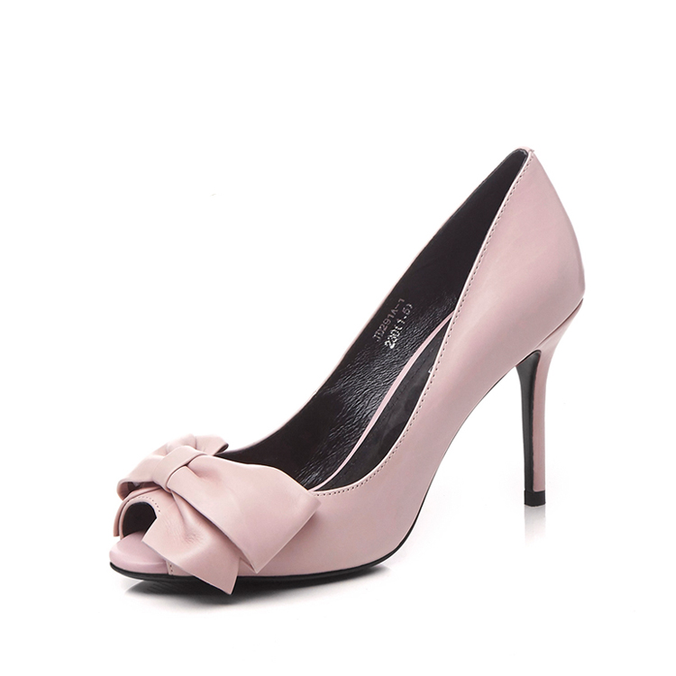 Wholesale fish mouth high heels pink genuine leather shoes women