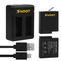 SHOOT 1220mAh Rechargeable for Gopro Charger and Battery for Gopro Hero 5 6 7 Black