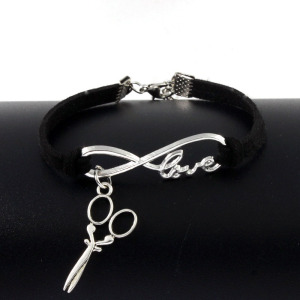 Wholesale accessories women colorful infinity love scissors bracelet