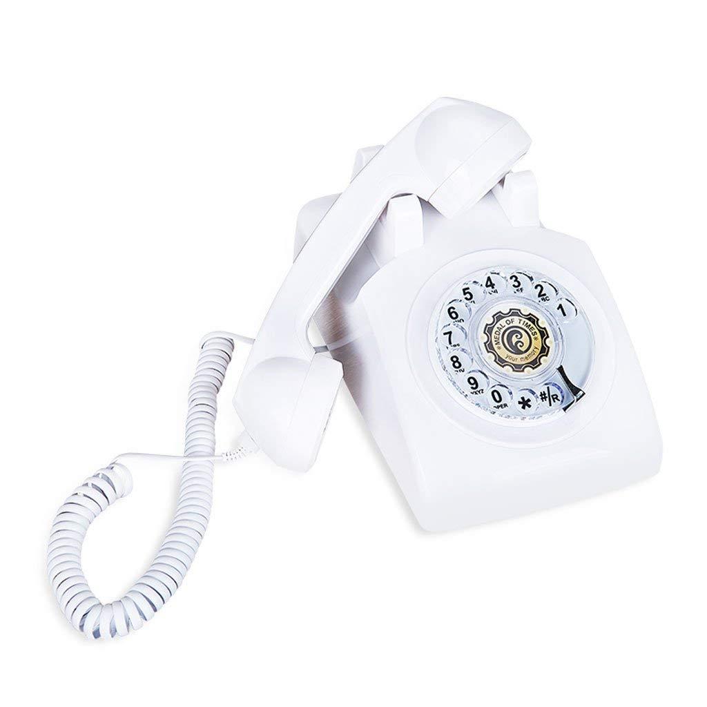 WXL Phone Vintage Antique Retro Fixed Home Office Phone Black Metal Rotary Business Landline (Color : White, Size : L22CMH14CM)