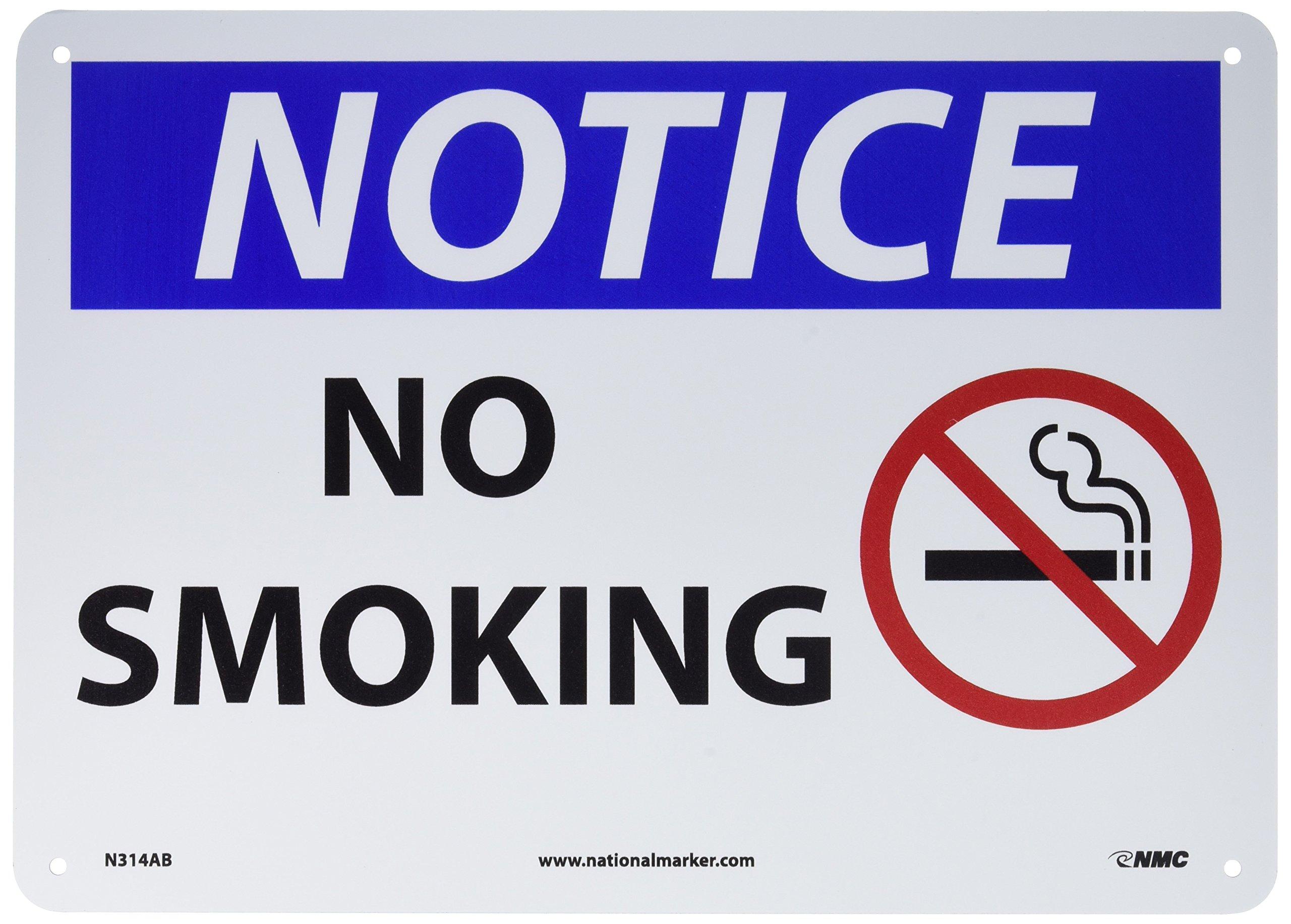 "NMC N314AB OSHA Sign, Legend ""NOTICE - NO SMOKING"" with Graphic, 14"" Length x 10"" Height, Aluminum, Black/Blue on White"