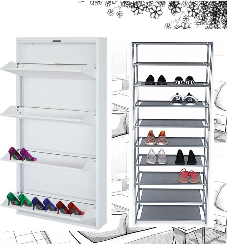 Cheap Furniture Knock Down Used Steel Shoe Rack Shoe Cabinet ...
