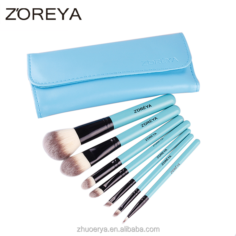 Popular zoreya 7pcs baby blue brush set name brand cosmetic