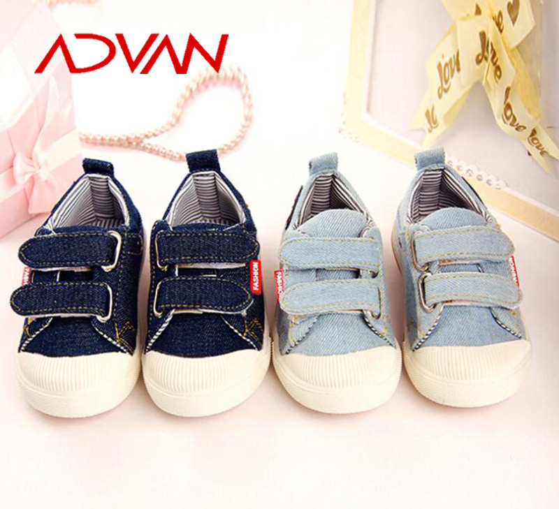 2016 Popular Soft Kids Rubber Shoes with Jeans Upper Blue Buckle Strap Private Label Kids Shoes