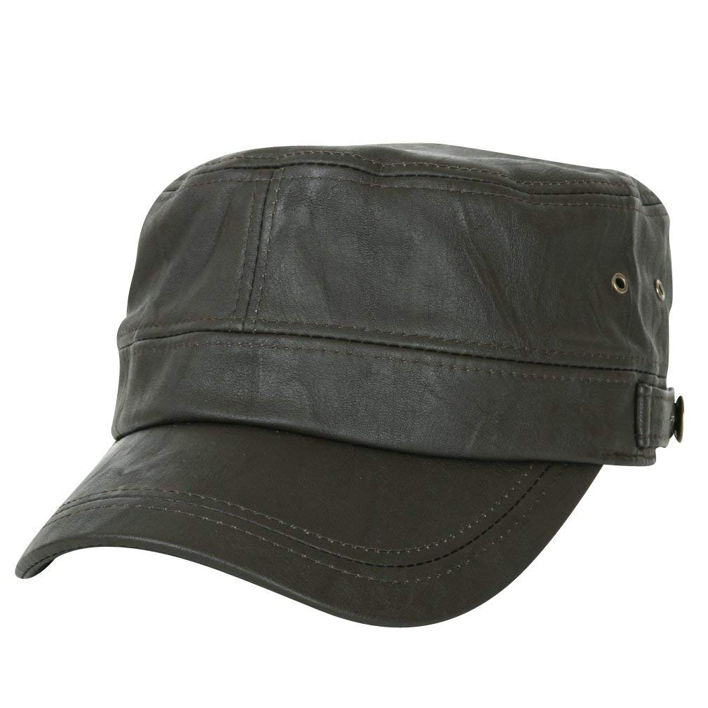ililily Vintage Faux Leather Flex-Fit Military Cap with Elastic Band Cadet Cap