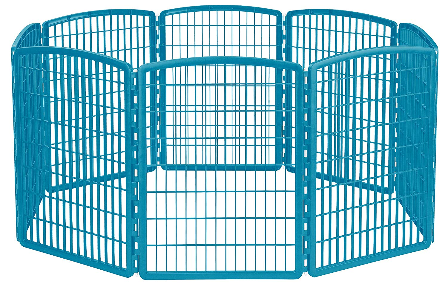 IRIS 34'' Exercise 8-Panel Pet Playpen without Door, Blue Moon