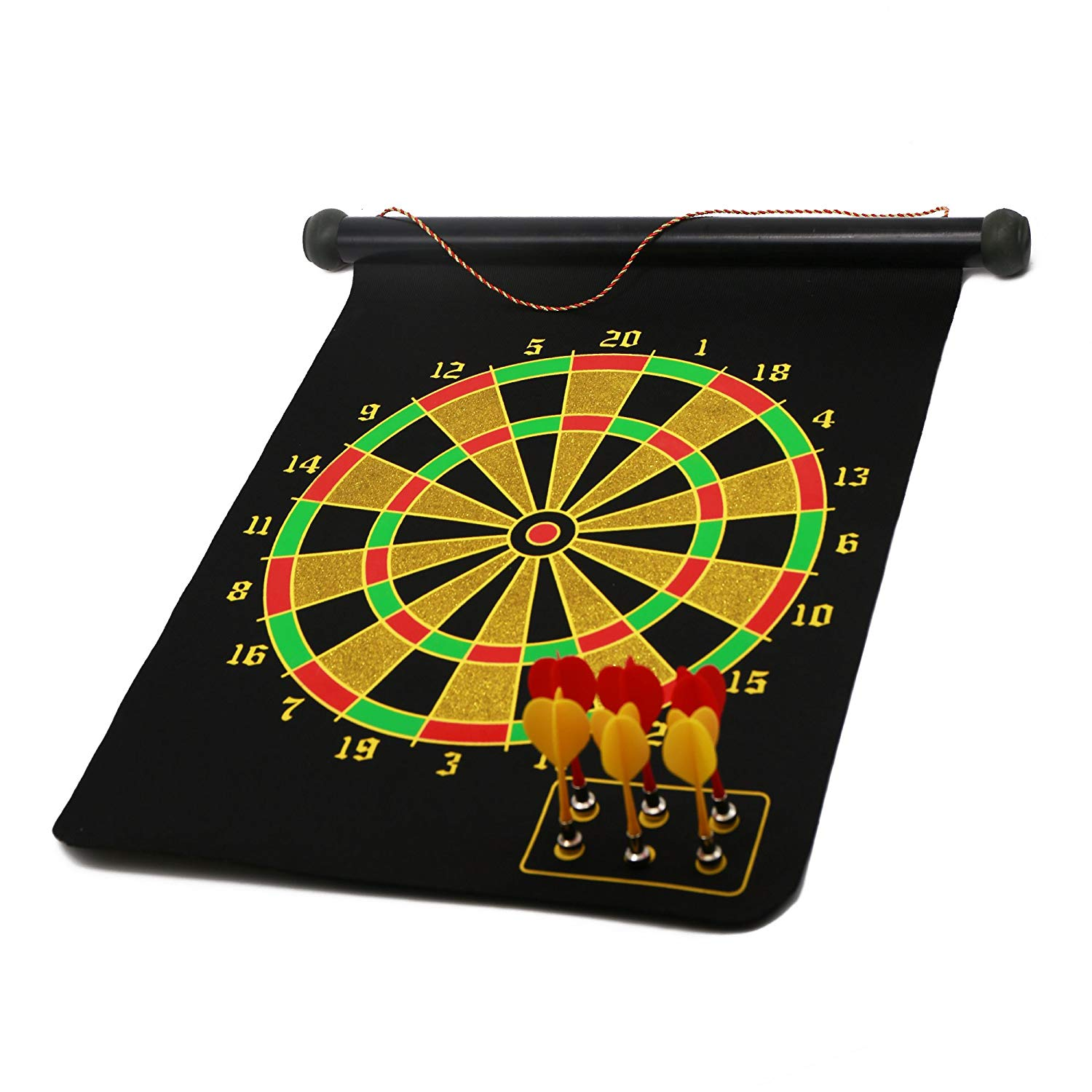 D.B.Life(Data and Better Life) Roll-up Magnetic Dart Board Set Double-Sided Hanging Dartboard with Darts