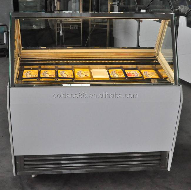 Economic portable 8GN pans ice cream display refrigerator And freezer /gelato display case with single row