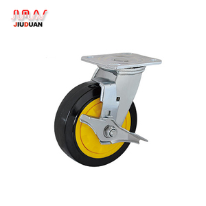 wholesale heavy duty trolley pu caster wheels with side brake