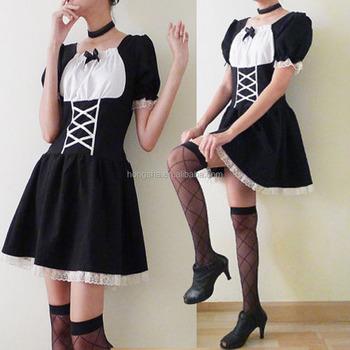 90s Black And White Mini Dress Gothic Lolita