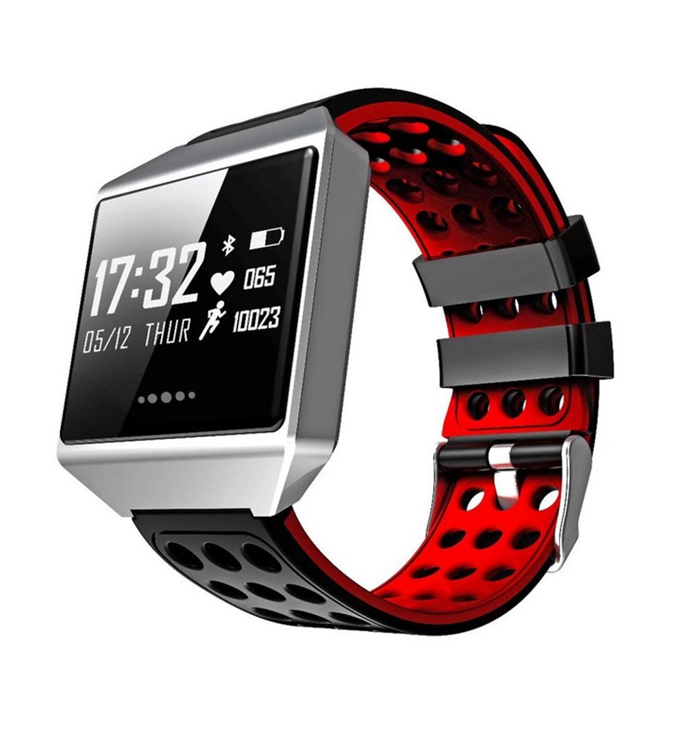 CK12 Smart Band Graphene ECG Heart Rate Monitor Blood Pressure Monitoring Smart Bracelet Sports Bluetooth Waterproof Watch(red)