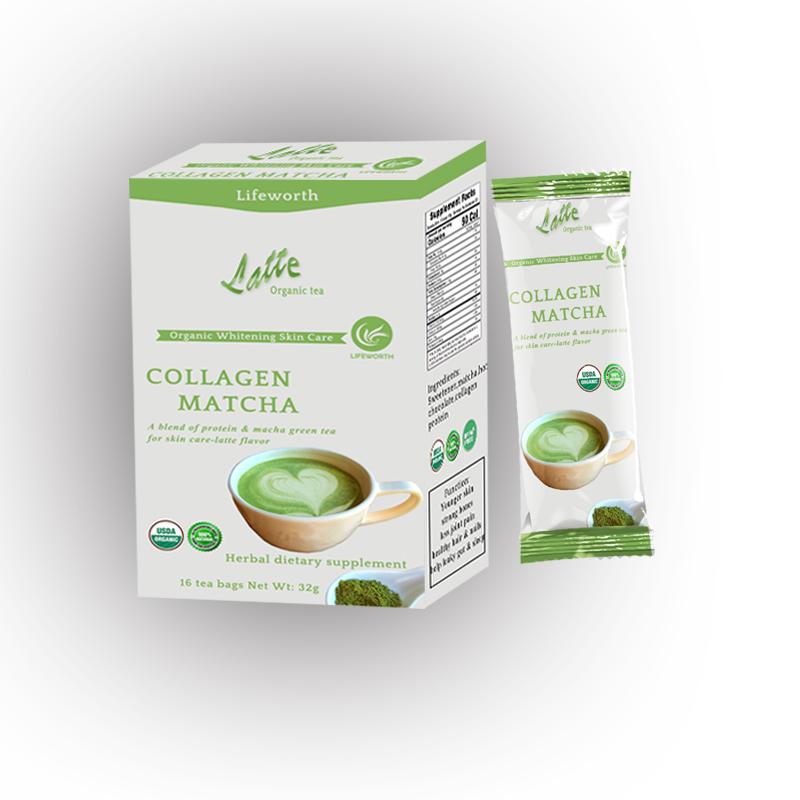 Lifeworth latte flavor Japan organic matcha green tea with collagen powder - 4uTea | 4uTea.com