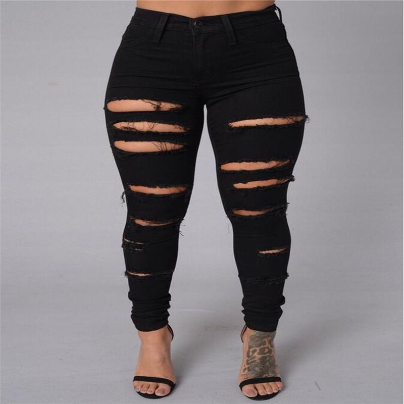 abd9a159eff Wholesale- Women Ripped Jeans High Waist Torn Female Club Denim ...