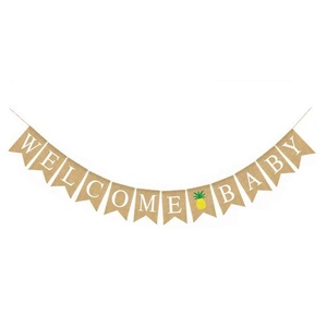 Custom Design Baby Welcome Banner Birthday Party Banner Hanging Flag