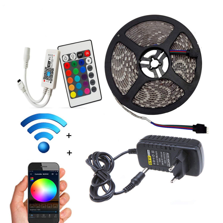 Processes 5M 10M 15M WiFi RGB LED Strip Light Waterproof SMD5050 3528 2835 DC 12V led Tiras,5050 44key Set,5M Non Waterproof