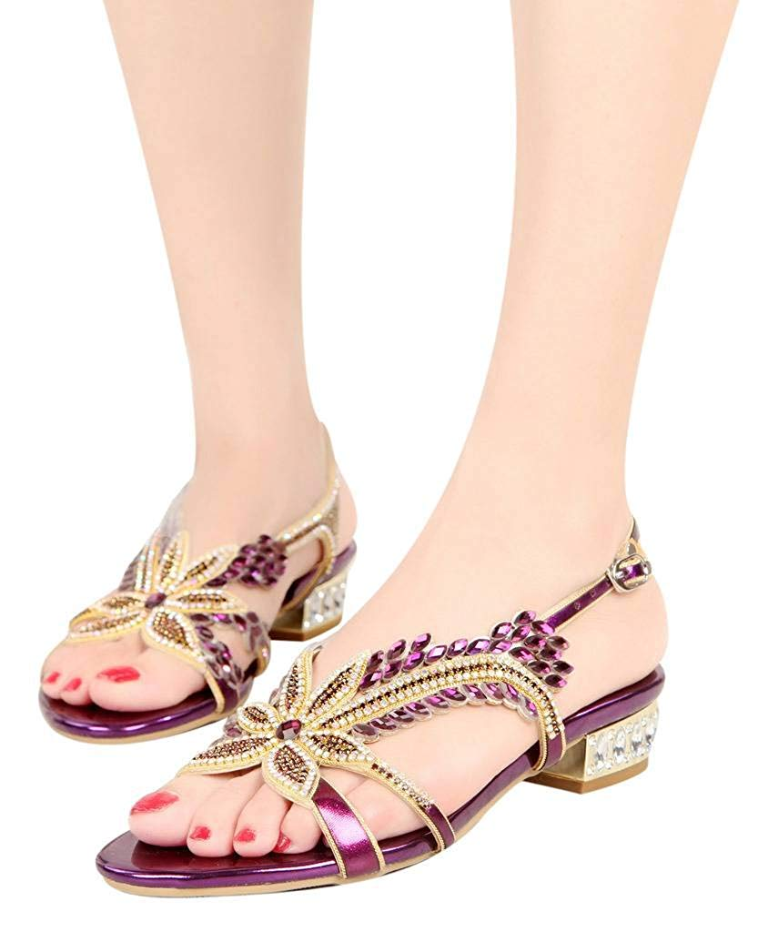 36b125e9248766 Get Quotations · YooPrettyz Open Toe Studded Leather Sandals Sparkle  Crystal Flat Shoes Round Toe Strappy Dress Sandals