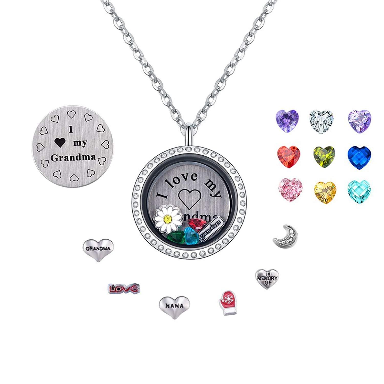 PORPI-JOJO I Love Family Mom Daughter Grandma Wife Floating Locket Necklace Pendant Living Memory Lockets 30mm Stainless Steel 5 Style