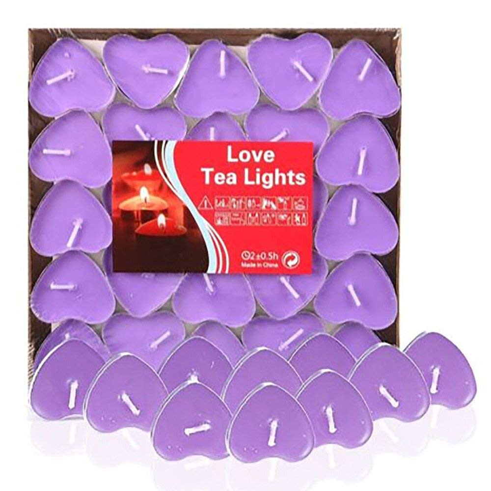 LooBooShop 50PCS Romantic Love Wedding Party Heart Shaped Scented Candles Home Decor Smokeless Sweet tealights Candles Christmas Xmas Decor