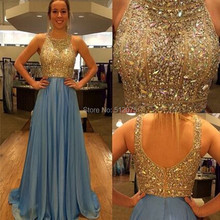 2016 Elegant Gold Crystal Heavy Beading Prom Gown Sexy See Through Tulle Vestidos De Fiesta Plus Size Long Prom Dress z92102