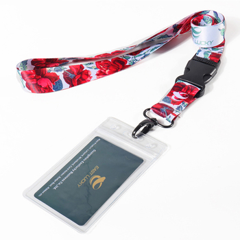 Eastlucky Flower Printed Lanyard and Transparent Card Holder for Company Staff