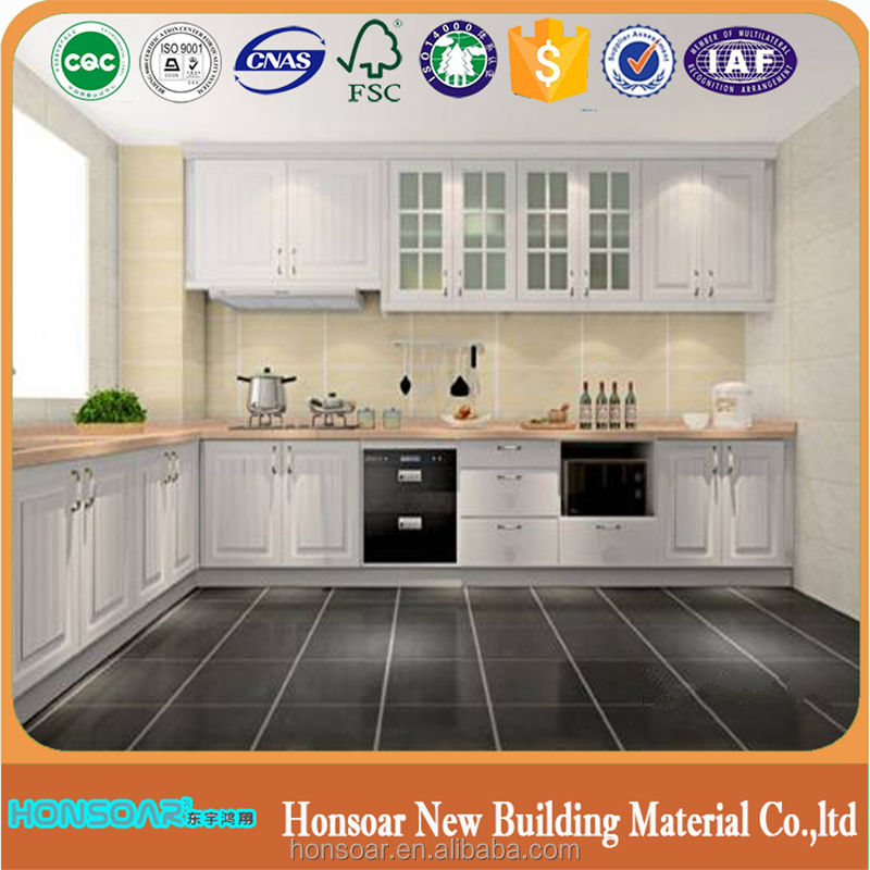 I-shaped Melamine Finish Door Panel Kitchen Cabinet with Conceal Drawer