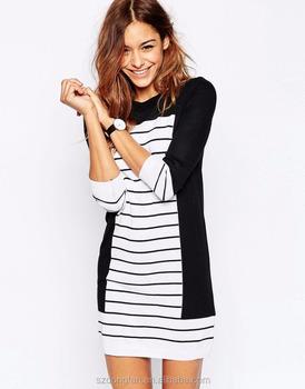 Fashional Woman Wear Stripe Knit Dress Latest Dress Designs For
