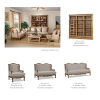 Vintage unique design furniture living room solid wood sofa set