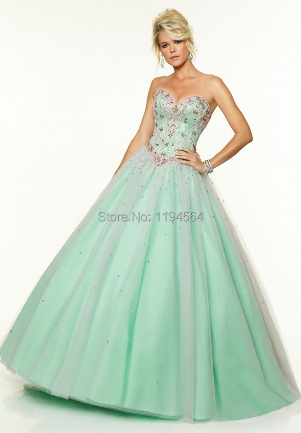 Multi Colored Quinceanera Dress 2015 Organza Sweetheart Appliques Beading Masquerade Ball Gown 2015 Lace Up Back PE1035