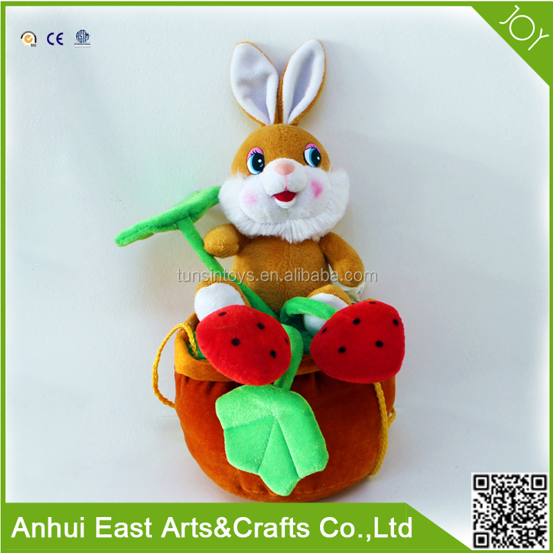 LOVELY BROWN PLUSH RABBIT SIT ON FLOWER POT AS A CANDY BAG FOR CHILDREN WITH FUNNY