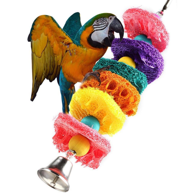 Dog Toy,Pikolai Parrot Toy Bird Cage Cockatoo Conure Grasp Chew Loofah Sponge Bite-resistant