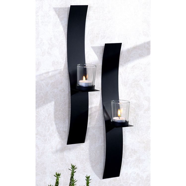 home decoration wall mounted metal candle holder with glass cups
