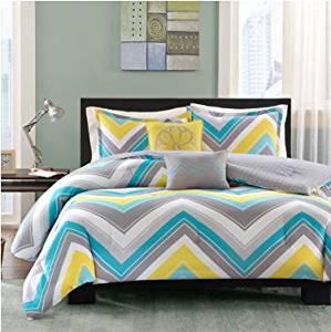 "Intelligent Design Ariel Chevron Comforter Set - 4-pc. Twin / Twin XL - Twin/Twin XL: comforter: 68x90"" - Bedroom decor - Blue, gray, yellow - Polyester"