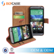 Wholesale Genuine Leather Wallet Cell Phone Case For HTC One M8 With Card Holder