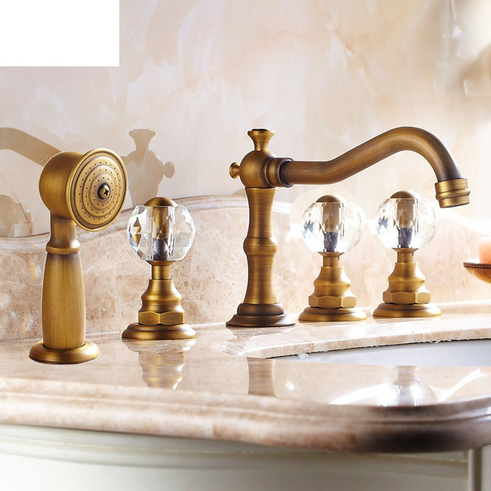 European-style antique copper faucet/bath with five piece of cover/five-hole faucet hot and cold/Split vintage mixer with small shower