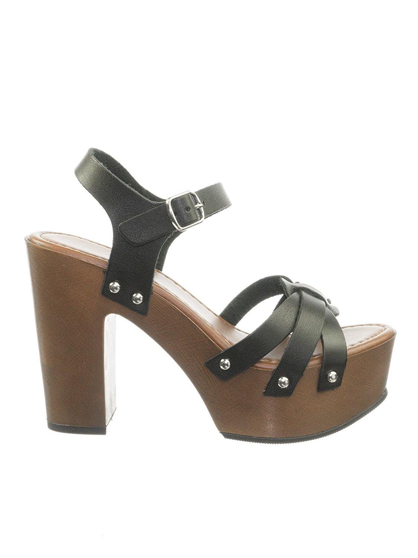 1082239bb1 Get Quotations · Aquapillar Metal Stud Sculpted Faux Wood Clog Sandal  Platform Block Heel