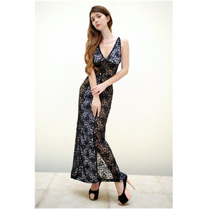 2018 summer new arrival sexy women night party dress long maxi lace slit dress sexy night lingerie