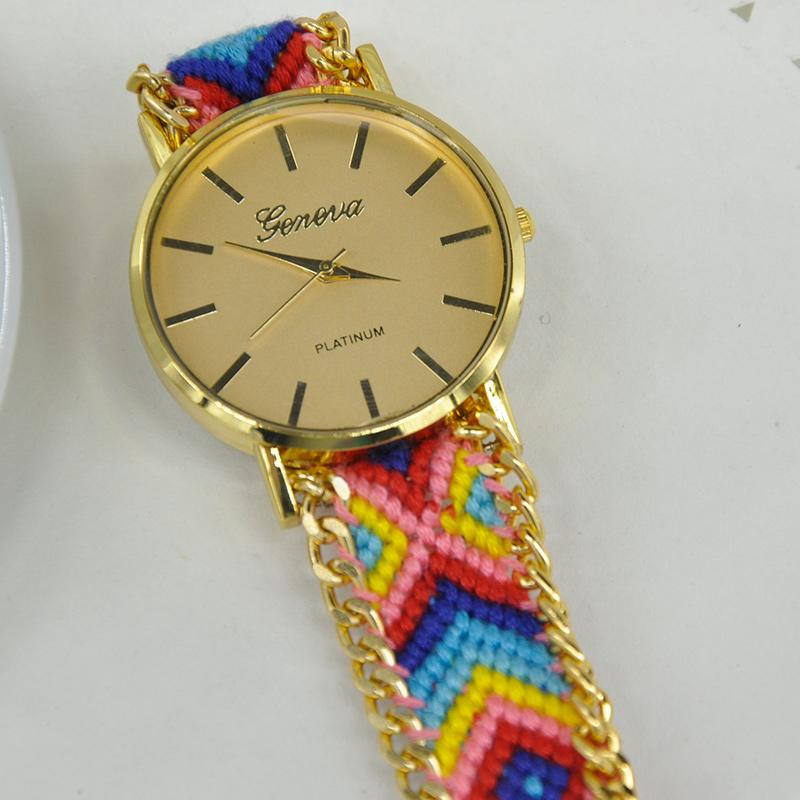 Национальный стиль браслет часов 2015 женщин часы руководство переплетения группы свободного покроя кварцевые часы PMPJ775 * 15