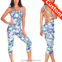 custom made sublimation print catsuit womens bodycon jumpsuit fitness sport bodysuit yoga wear