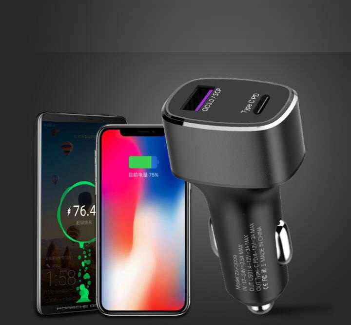 Type C PD 36W USB Car Charger Dual USB Port with Quick Charge 3.0