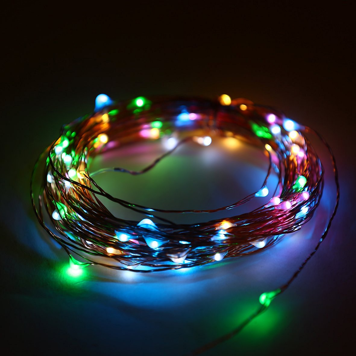 E-Age Indoor and Outdoor Waterproof Battery Operated String Lights on 33 Ft Long Silver Color Ultra Thin Copper String Wire with Timer (Multicolor)