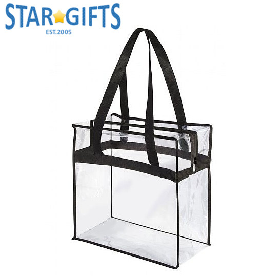 Zip Warerproofing Men Women Custom Transparent Clear PVC Tote Stadium Bags