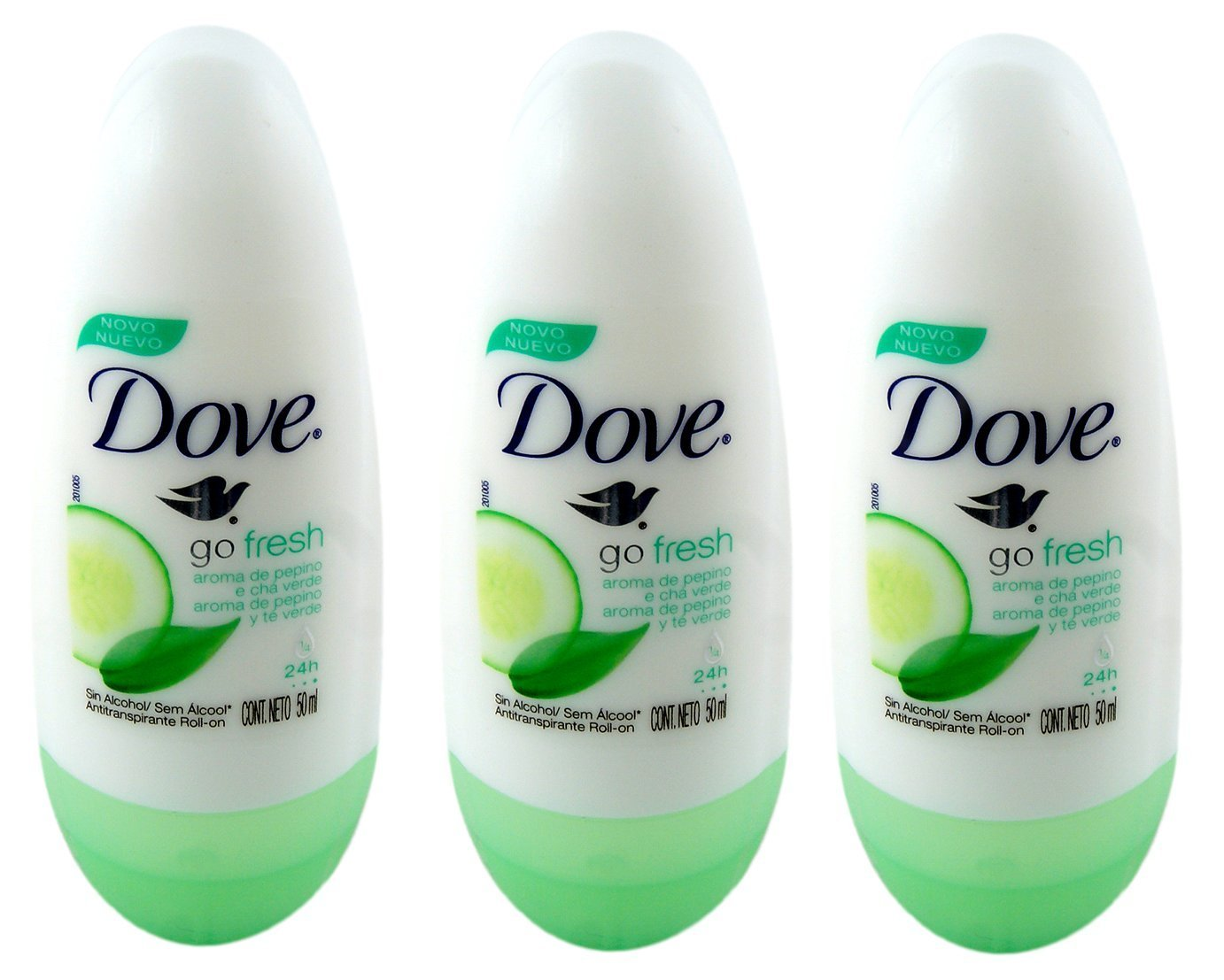 Dove Go Fresh Cucumber & Green Tea Scent Anti-perspirant Deodorant Roll-on 50ml (1.7 Fluid Ounce). (Pack of 3)