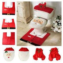 Home Christmas Santa Claus Toilet Foot Pad Seat Cover Radiator Cap Bathroom Sets